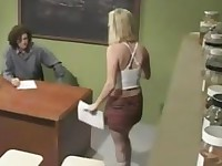 Amazing Blonde Schoolgirl Amber Rain classroom sex with Old Teacher in Uniform