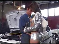 Yasmine takes anal from a car mechanic