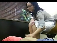 Employee gets a handjob after being hypnotized by the boss