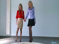 Brianna and Nubira wetlook lesbian tryout