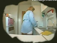Spying my BBW mom in the Kitchen