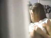 Hot brunette caught blowing and swallowing on hidden cam