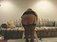 Milfs Manon fucks Big dildo on chair