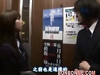 japanese schoolgirl gives lucky guy a blowjob in elevator 02