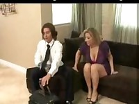 Cute Sex Starved Brunette Cougar Screwing A Shy Dude.