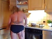 German Milf toys in her Kitchen