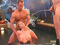 Nasty blonde slut gets p1ssed hard after