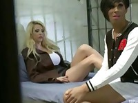 Hot blond fucked by tranny in jail