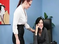 Office Redhead Babe Lesbian sex with Brunette Lesbo Boss with tatoo