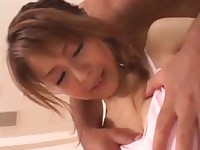 Little Japanese girl and her big cock lover