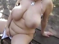 Natural Huge Tits Solo in Park