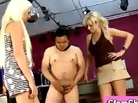 Three british cfnm blondes give handjob