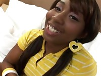 cute black teen taking a big facial