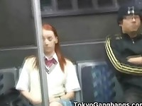 Redhead Coed Fingered in Tokyo