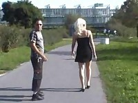Blonde Has Sex Outdoor In Public Place A Man Keep Watching