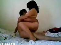 Indian busty aunty with young man
