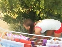 Girl amateur dildoing in the garden