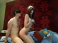 Emo girl helping boyfriend at home - csm