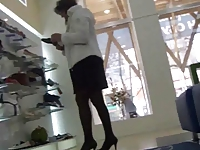 Mature in a Shoe Store - Candid Legs. Upskirt (+slow motion)