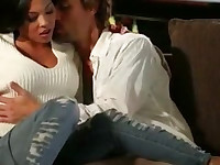 Big natural tits Adrianna Luna pussy pounded on the couch