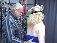 Two guys capture girl put rope on her and mouth gag and take her to the chamber