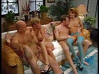 Hardcore group orgy with mature whores.