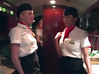 Stewardesses give customer a tugjob