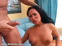 Big breasted Asian nympho Kitty Langdon gives blowjob in POV and gets pussy fucked