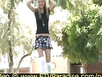 Virgin Remarkable Blonde Playing Outdoor