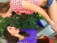 two hot chicks banging anal with bigcock