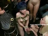 Nice ass in kinky pants sitting on a chair in public pub and spanked hard before cock jumps inside