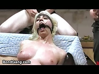 Tied up blonde sprayed with multiple jizz