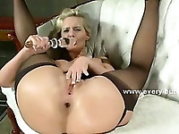 Pervert catching vorascious slut fucking herself with butt plugs and gives her a brutal ass fuck
