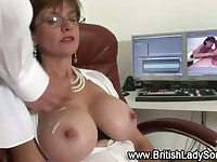 Busty mature stockings bitch gets a cumshot