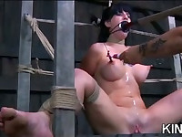 Shaved Pussy in Bondage