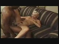 Mature blonde chick fucked by 2 black dicks