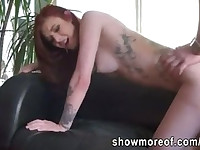 Sexy amateur redhead girl having sex in homemade video