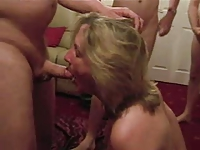 Dirty English wife sucking his mates