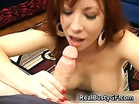 Fiery redhead mom with bigboobs sucking