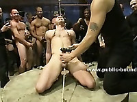 Sexy hot gay twink tied in ropes and clipped with bondage clips in sadomaso group sex video