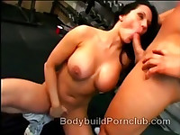 Naughty brunette bodybuilder whore Elle Cee strips down and has oral sex at the gym