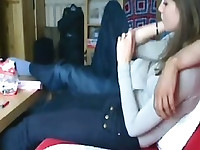 Amateur Couple Having Good Sex On The Red Couch