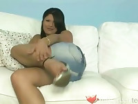 Mayabee stripping panties and masturbating at her home