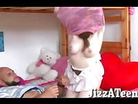 Skanky young brunette girl hardcore pussy fucking on double deck