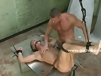 Mighty powerfull man humiliates and dominates poor gay slave who licks his boots and tortured