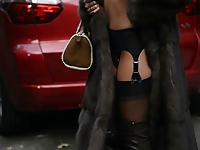 exhibitionist: nude under luxe fur coat and vintage garterbelt