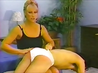 Man spanked in panties by super hot blonde!
