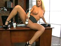 Blond secretary getting hot