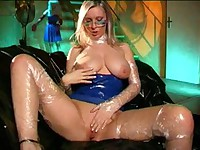 Shiny bitch in blue latex dress