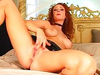 Audrey stripping and pleasuring herself
